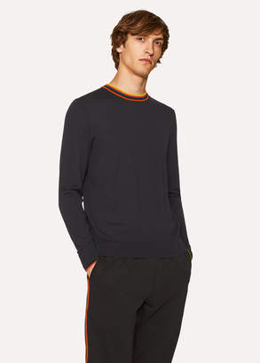 Paul Smith Men's Navy Merino-Wool Sweater With 'Artist Stripe' Collar
