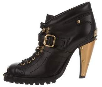 Miu Miu Leather Lace-Up Ankle Boot w/ Tags