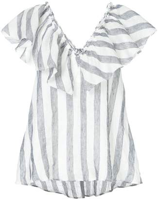 Lee Mathews Simmons stripe frill neck top