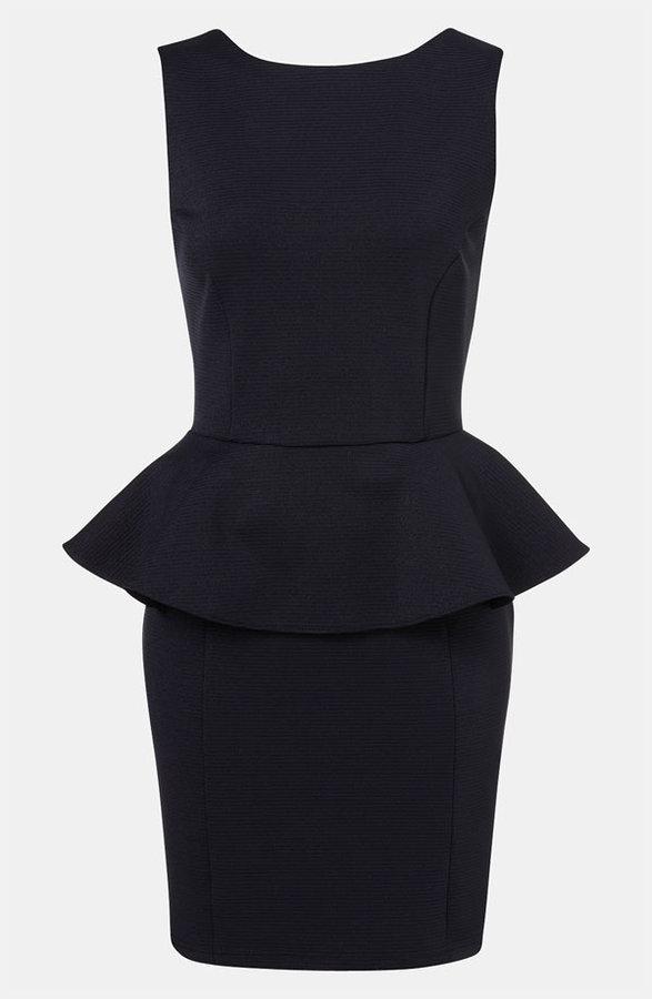 Topshop Ribbed Peplum Dress