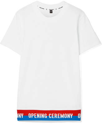 Opening Ceremony Ribbed Knit-trimmed Cotton-jersey T-shirt - White
