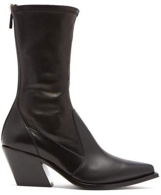 Givenchy Slant Heel Leather Boots - Womens - Black