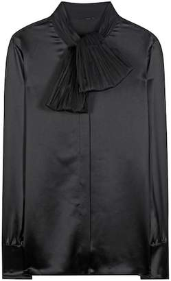 Saint Laurent Silk blouse with tulle scarf