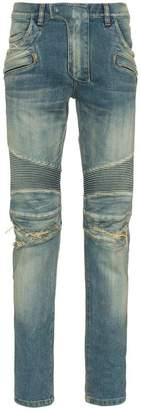 Balmain stretch denim slim biker jeans