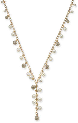 "Charter Club Gold-Tone Pave Bead & Imitation Pearl Lariat Necklace, 36"" + 2"" extender"