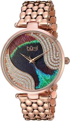 Burgi BUR162RG Women's Quartz Metal and Stainless Steel Automatic Watch, -Toned