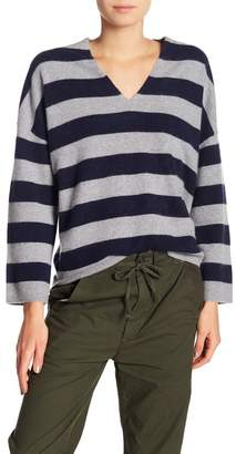 Vince Cashmere Stripe V-Neck Sweater