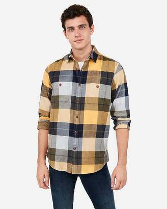 Express Slim Mixed Plaid Flannel Shirt