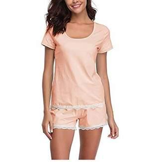 Mirry Women's Pyjamas Set Short Sleeve Shorts Pink Sleepwear Soft 2 Piece Set