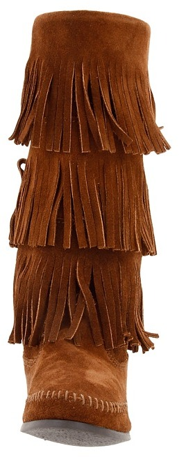 Minnetonka - Calf Hi 3-Layer Fringe Boot Women's Pull-on Boots 7