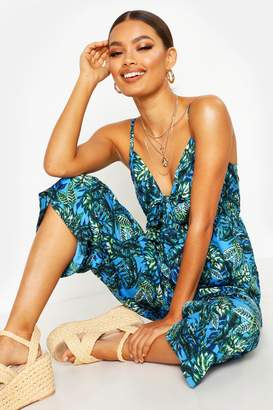 boohoo Knot Front Tropical Print Jumpsuit