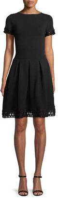 Emporio Armani Short-Sleeve Ottoman Ribbed Fit-and-Flare Dress with Lattice Trim