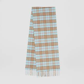 Burberry The Classic Vintage Check Cashmere Scarf, Blue