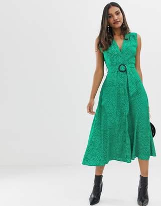 874abdc425a1 Asos Design DESIGN button through midi dress with belt in spot print