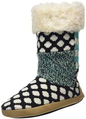 Dearfoams Women's Tall Patchwork Boot Hi-Top Slippers, Black (Black 00001)