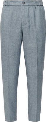 Club Monaco Lex Slim-Fit Tapered Melange Linen-Blend Trousers - Men - Blue
