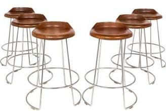 McGuire Furniture Set of 6 Walnut Swivel Counter Stools