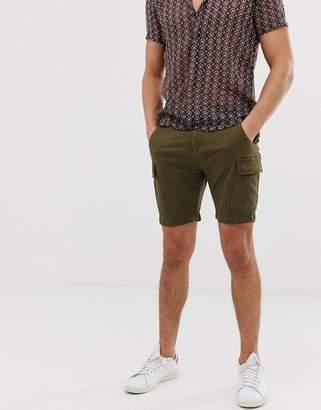 Brave Soul slim fit utility cargo shorts in khaki