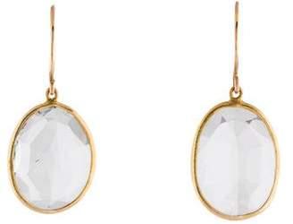 14K White Topaz Drop Earrings