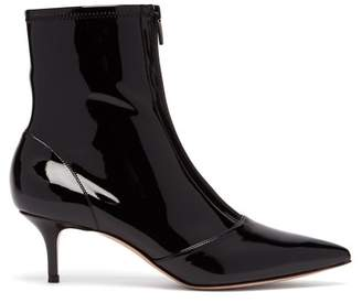 Gianvito Rossi Zip Front 55 Vinyl Ankle Boots - Womens - Black