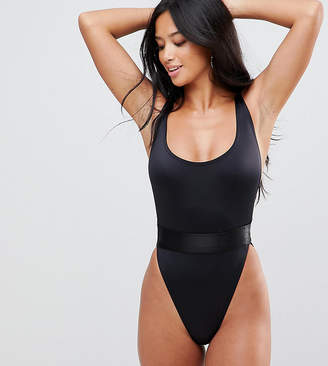 Asos DESIGN Petite high leg elastic waist swimsuit
