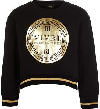 River Island Girls Black RI 'Vivre' cropped sweatshirt