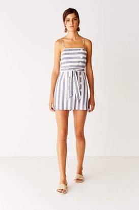 Suboo Button Front Mini Dress - Navy Stripe