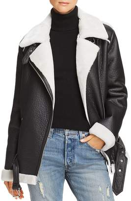Aqua Faux-Shearling Moto Jacket - 100% Exclusive