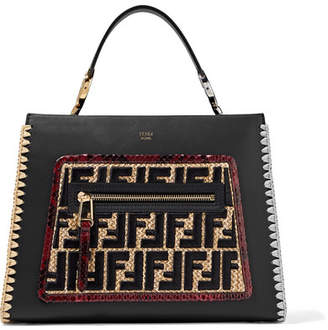 Fendi Runaway Small Python And Embroidered Raffia-trimmed Leather Tote - Black