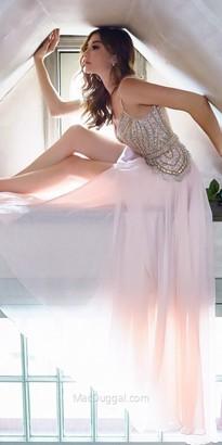 Mac Duggal V-Shape Beaded Thigh Slit Chiffon Prom Dress $598 thestylecure.com