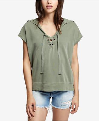 Sanctuary Cotton Lace-Up Hoodie
