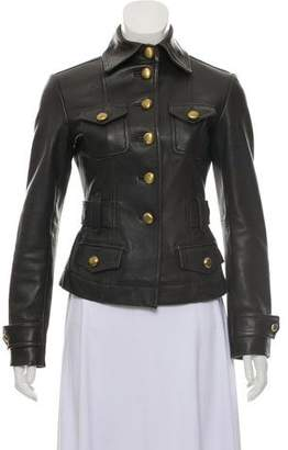MICHAEL Michael Kors Leather Button-Up Jacket