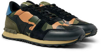 Valentino Garavani Rockrunner Camouflage-Print Canvas, Leather and Suede Sneakers - Men - Multi