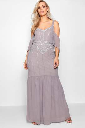 boohoo Plus Boutique Embellished Open Shoulder Maxi Dress