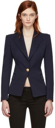 Balmain Navy Wool Single-Button Blazer
