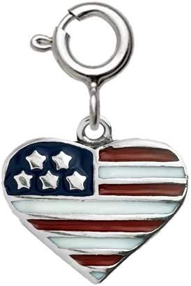 Sterling Epoxy Enamel Flag Heart Charm