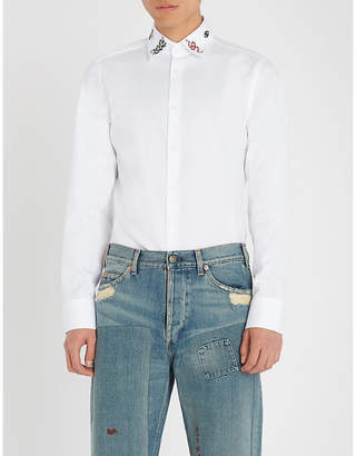 Gucci Embroidered collar regular-fit cotton shirt