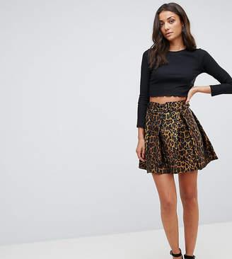 Asos Tall TALL Animal Jacquard Mini Flippy Skirt