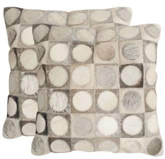 Safavieh DEC208A Rectangular Grey Brigitte Cowhide Pillow with Feather Filling f