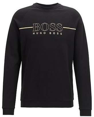HUGO BOSS Loungewear sweatshirt in cotton-blend pique with metallic logo