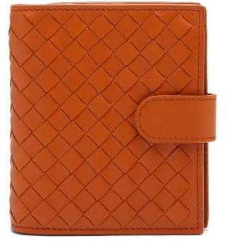 Bottega Veneta Intrecciato Bi Fold Leather Wallet - Womens - Orange
