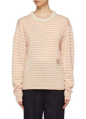 Chloé Logo embroidered stripe cashmere sweater