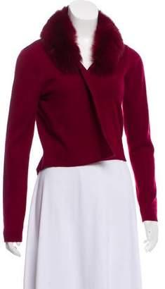 Minnie Rose Fur-Trimmed Cashmere Cardigan