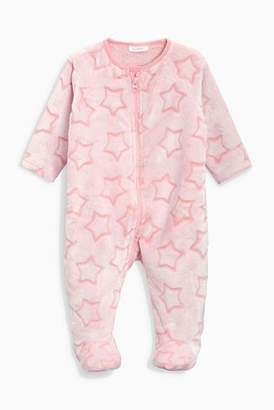 Next Girls Pink Star Fleece Sleepsuit (0mths-3yrs)