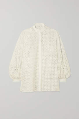 The Row Vara Laser-cut Cotton-blend Blouse - White