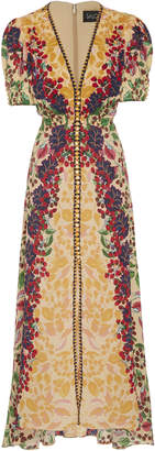 Saloni Lea Printed Silk-Georgette Midi Dress Size: 0