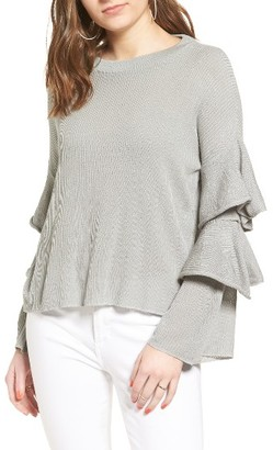 Women's Cotton Emporium Ruffle Sleeve Sweater $39 thestylecure.com