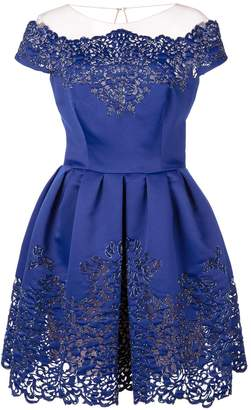 Marchesa scalloped pattern dress
