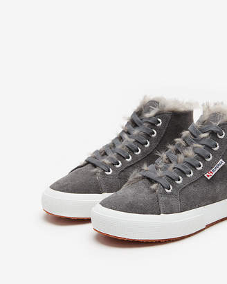 Express Superga Shearling High Top Sneakers