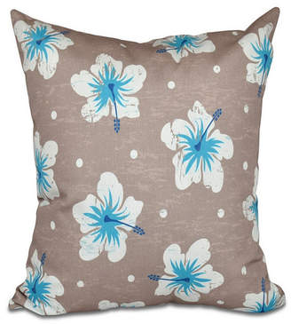 E By Design Hibiscus Blooms 16 Inch Taupe Decorative Floral Throw Pillow